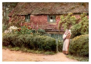 An artist's depiction of a traditional British cottage garden